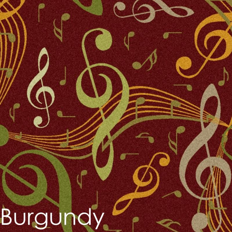 music symbols burgundy rug