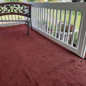 Red Black Indoor-Outdoor Economical Artificial Grass Turf Area Rug Carpet Customer Photo