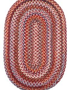 Rhody Red Velvet Braided Area Rug