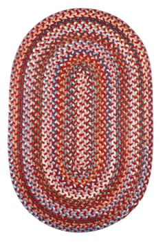 Rhody Red Velvet Braided Area Rug