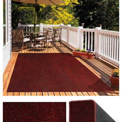 Red Black Indoor-Outdoor Economical Artificial Grass Turf Area Rug