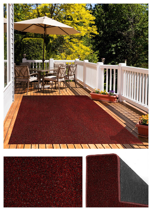Red Black Indoor-Outdoor Economical Artificial Grass Turf Area Rug