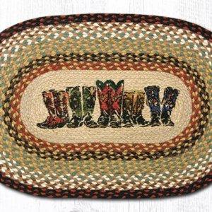 Cowboy boot jute area rug