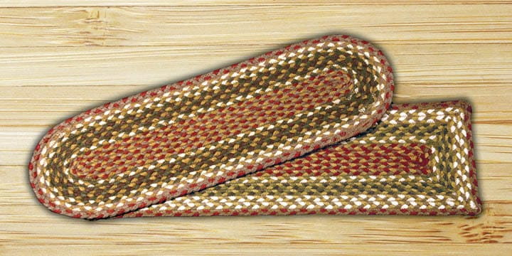 Earth Rugs Olive Burgundy Gray Braided Stair Treads