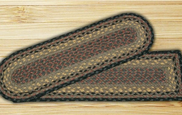 Earth Rugs Brown Black Charcoal Braided Stair Treads