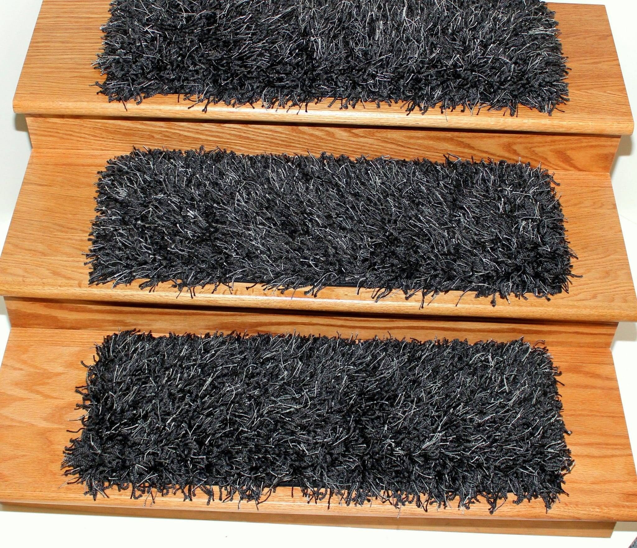 Bling Black Marble Shaggy Stair Treads | 9u2033 X 27u2033 (Set Of 13) 1.5u2033 Thick  Super Shaggy Bling Black Marble Stair Treads And Tape