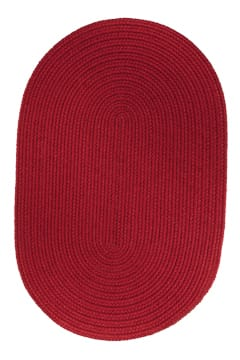 Rhody Brilliant Red Braided Area Rug