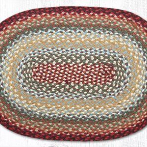 Thistle Green and country red braided jute oval rug