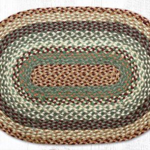 Buttermilk and cranberry braided jute oval rug
