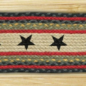 EARTH RUGS Black Stars BRAIDED JUTE Stair Treads ST-OP-238