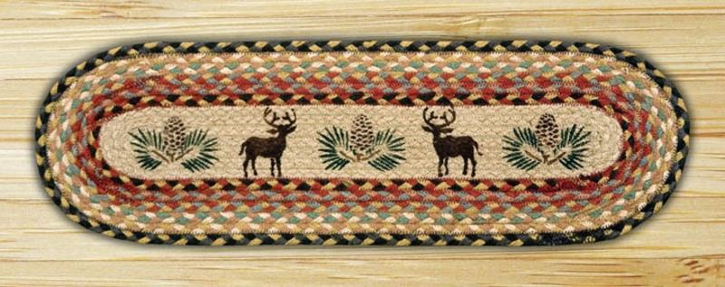 EARTH RUGS Deer Pinecone BRAIDED JUTE Stair Treads ST OP 57 | Set Of 13 U2013  8.25u2033x27u2033