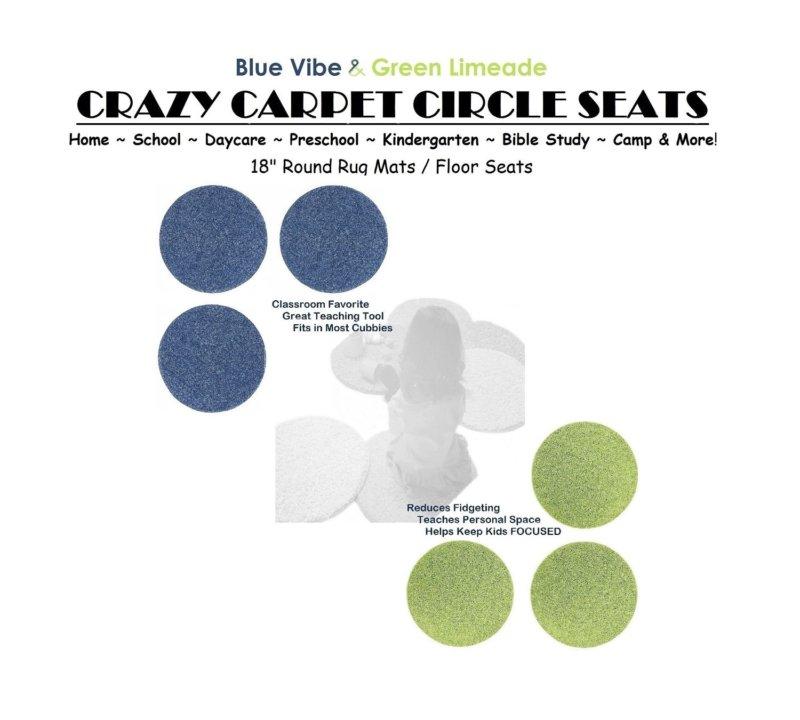 Children's Crazy Carpet Circle Seats Lime & Vibe Blue Set 6