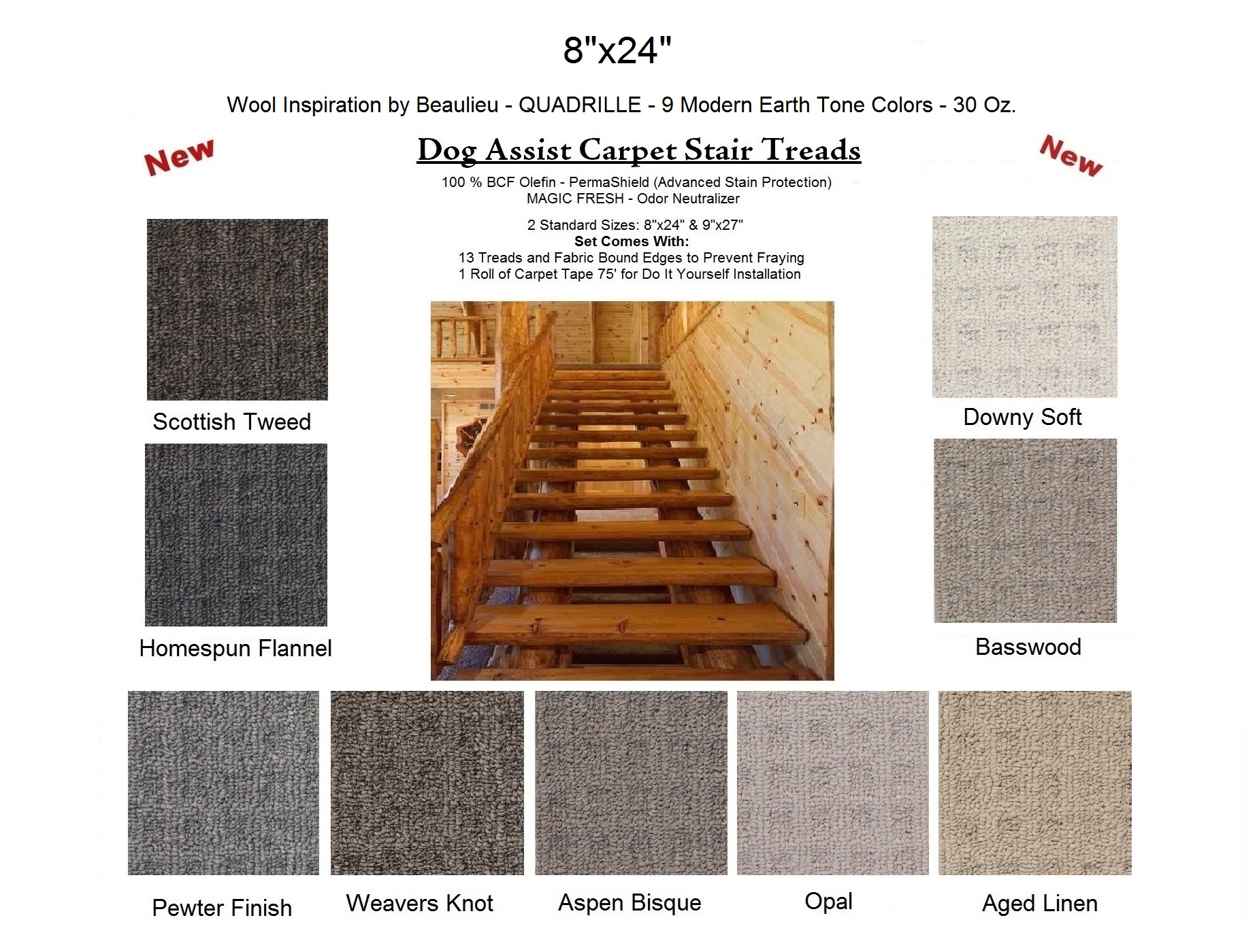 Quadrille DOG ASSIST Carpet Stair Treads | 8u2033x24u2033 (13 Treads Per Set) U2013 9  Earth Tone Colors To Choose From