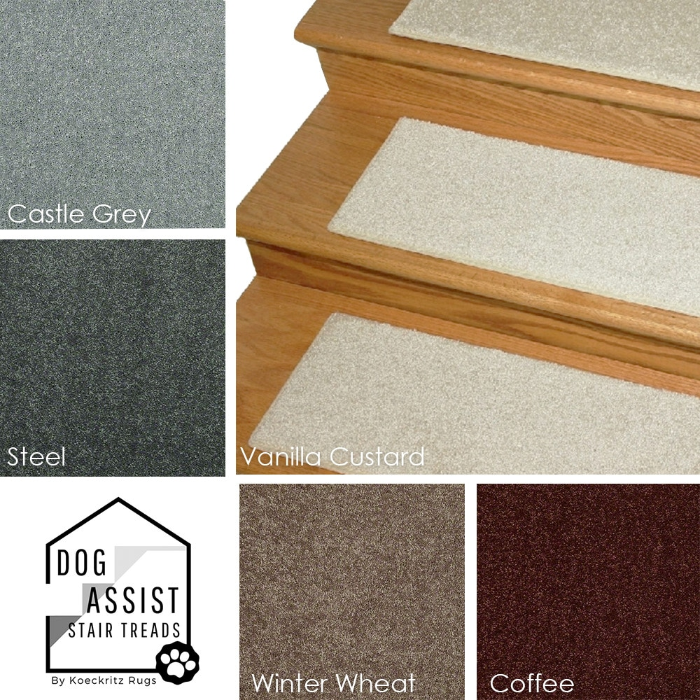 "Neutral Tones DOG ASSIST Carpet Stair Treads 8"" x 24"""