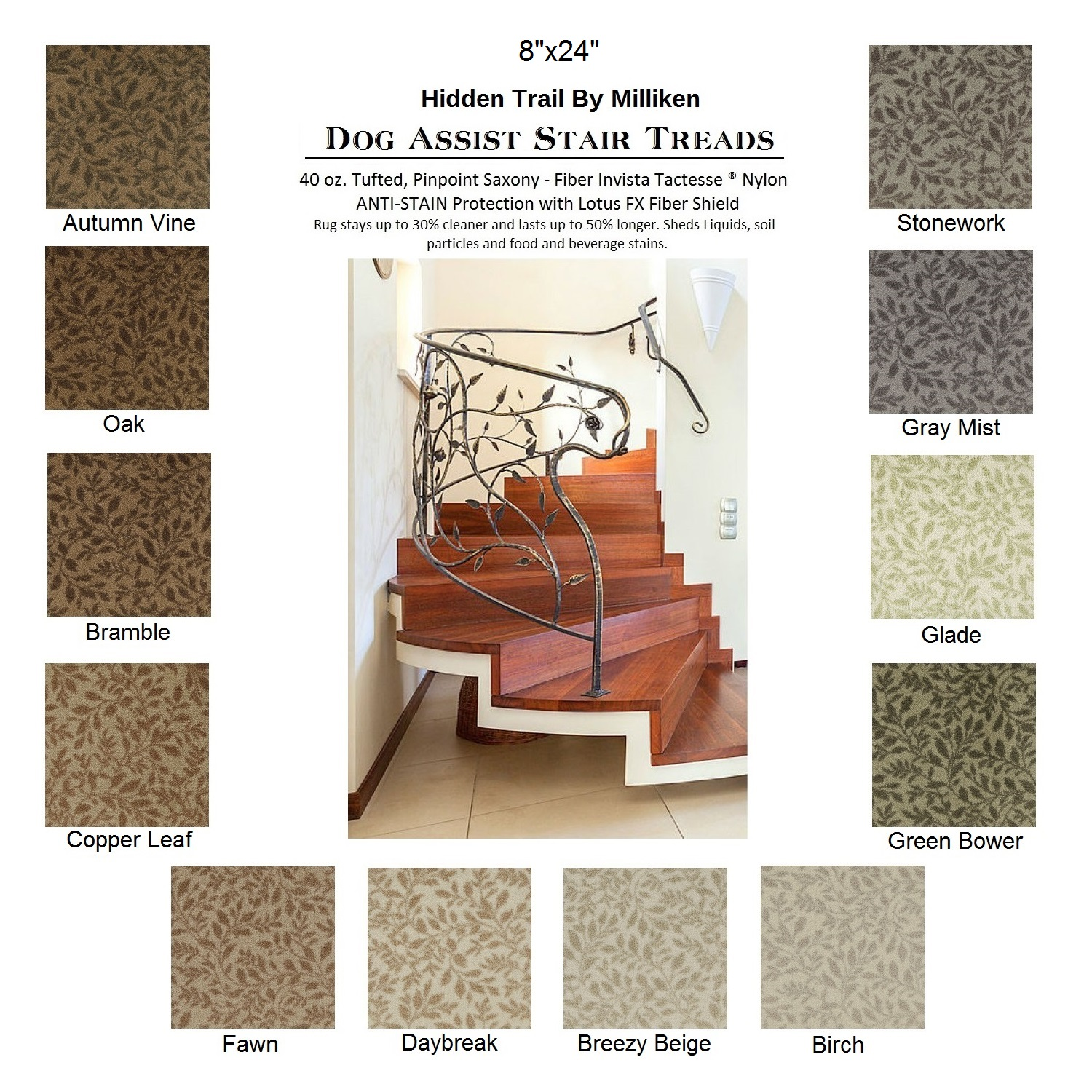 Hidden Trail DOG ASSIST Carpet Stair Treads