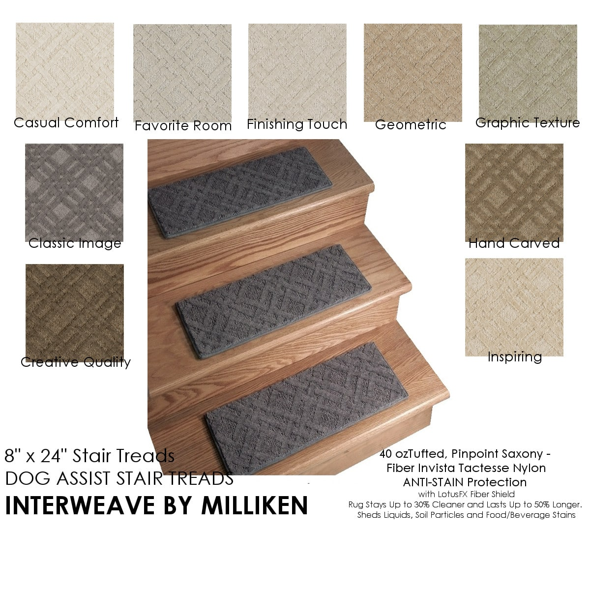 Interweave Clic Image Dog Ist Carpet Stair Treads 8 X24 Or 9 X27 Sets Of 12 18 Available