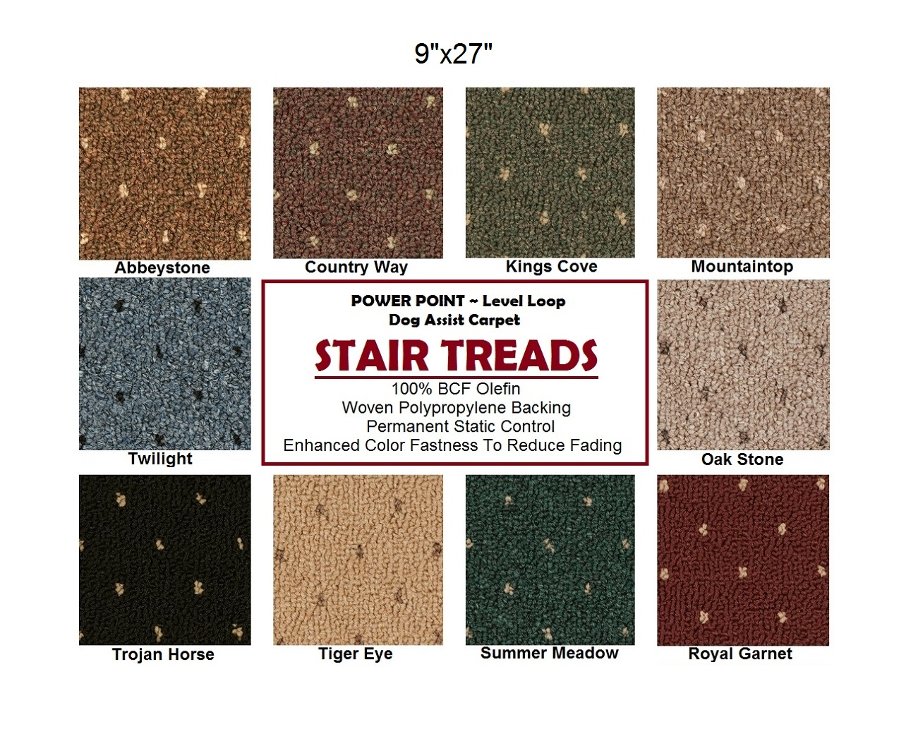 Power Point II DOG ASSIST Carpet Stair Treads | 9u2033x27u2033 (13 Treads Per Set)  U2013 10 Colors To Choose From
