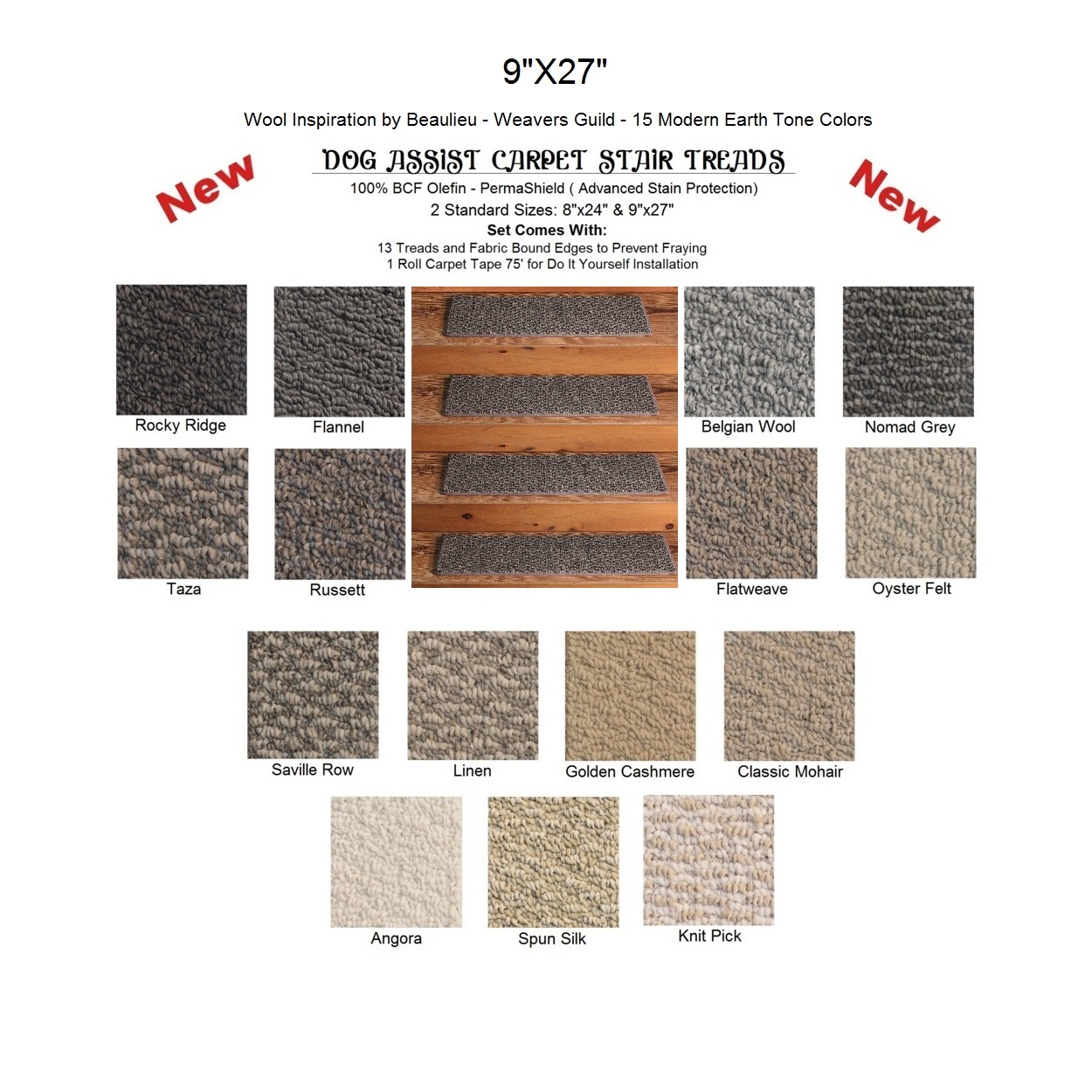 Weavers Guild Ii Dog Ist Carpet Stair Treads 9 X27 13 Per Set 15 Earth Tone Colors To Choose From