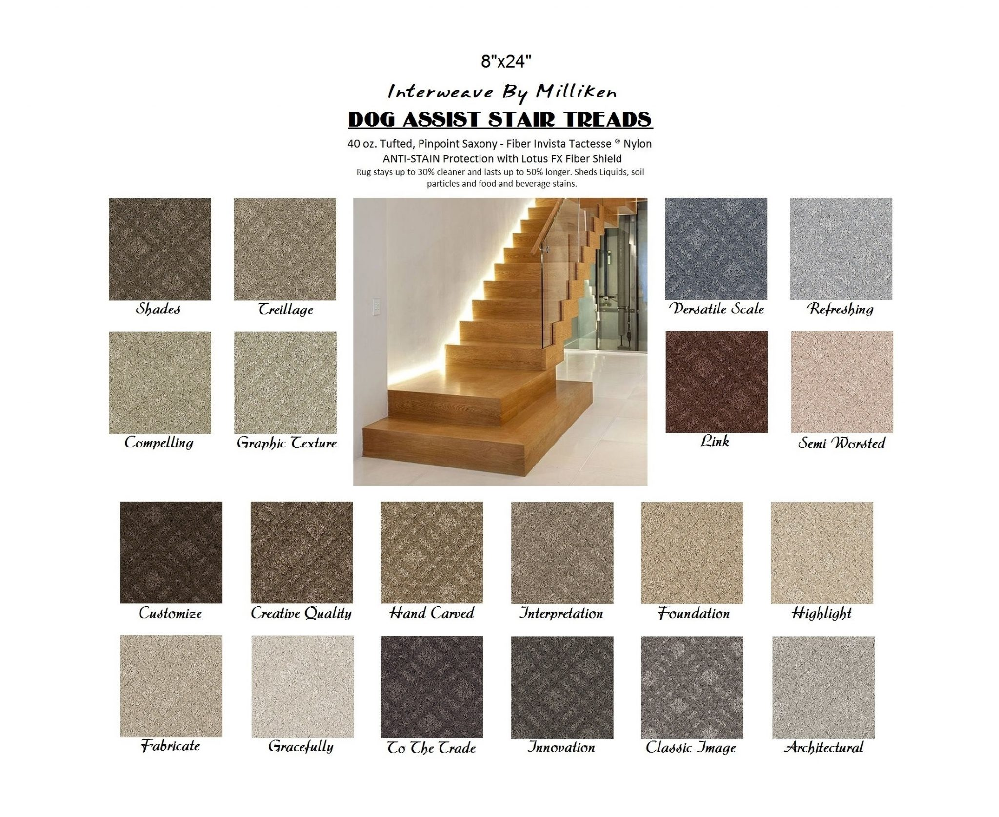 Interweave DOG ASSIST Carpet Stair Treads | 8u2033x24u2033 (13 Treads Per Set) U2013 20  Colors To Choose From U2013 Nylon By Milliken