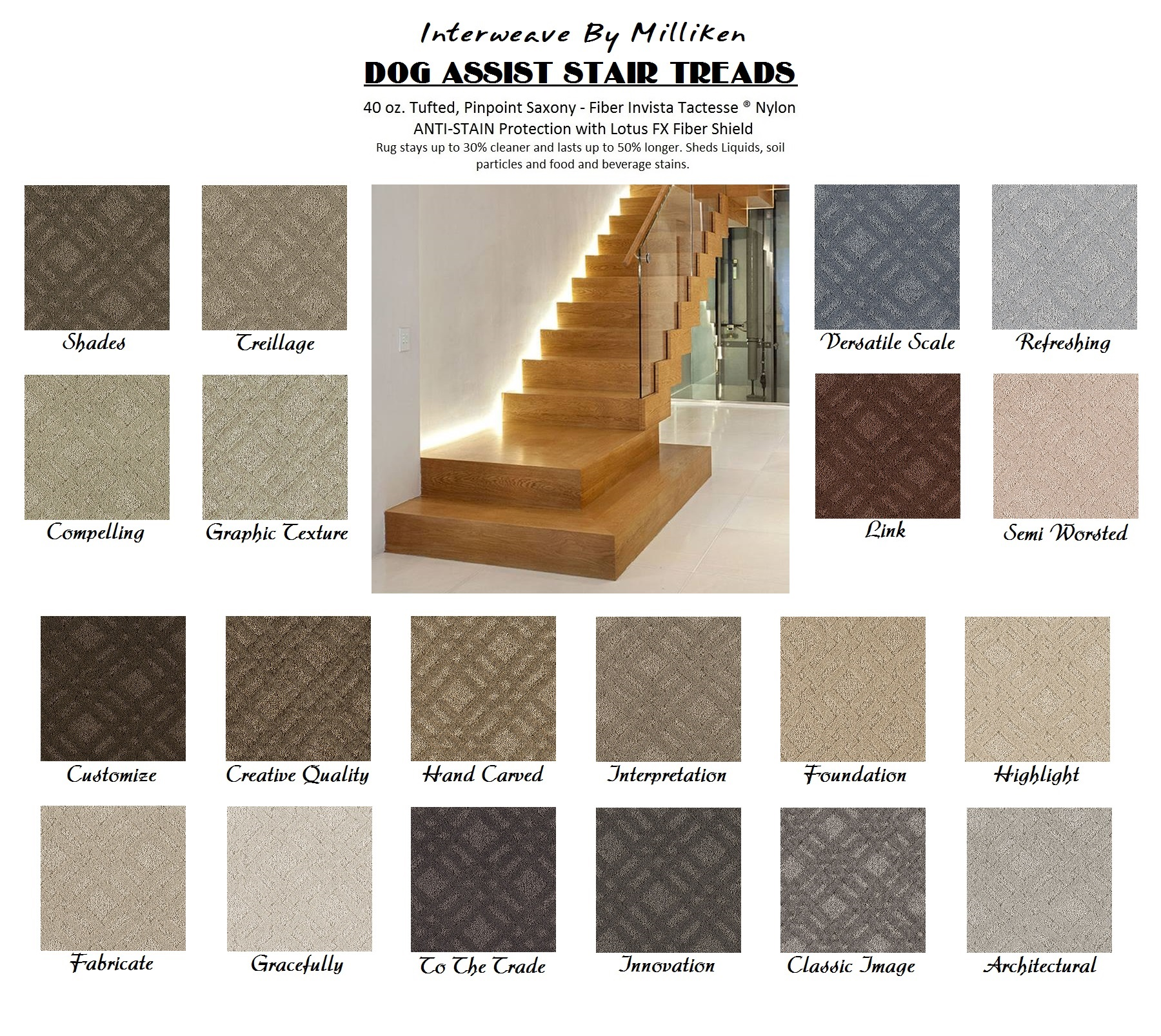 classic image interweave dog assist carpet stair treads 13 treads per set u2013 nylon by milliken