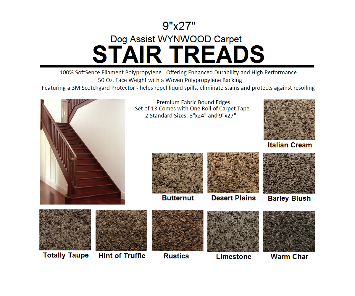Wynwood II DOG ASSIST Carpet Stair Treads | 9u2033x27u2033 (13 Treads Per Set) U2013 9  Colors To Choose From