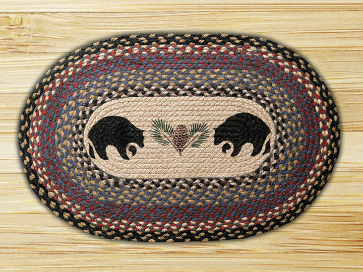 Earth Rugs Black Bears Oval Patch Braided Rug Collection 20 X 30 Op 42