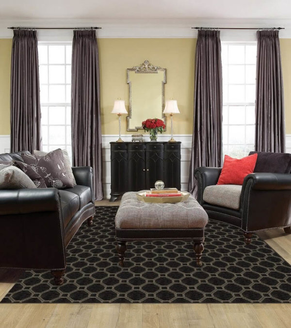 Milliken Delicate Frame Indoor Octagon Pattern Area Rug Collection Room