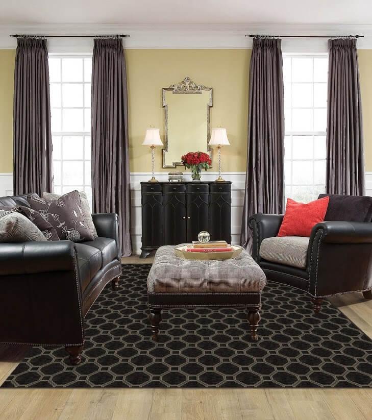 Milliken Delicate Frame Indoor Octagon Pattern Area Rug Collection Room