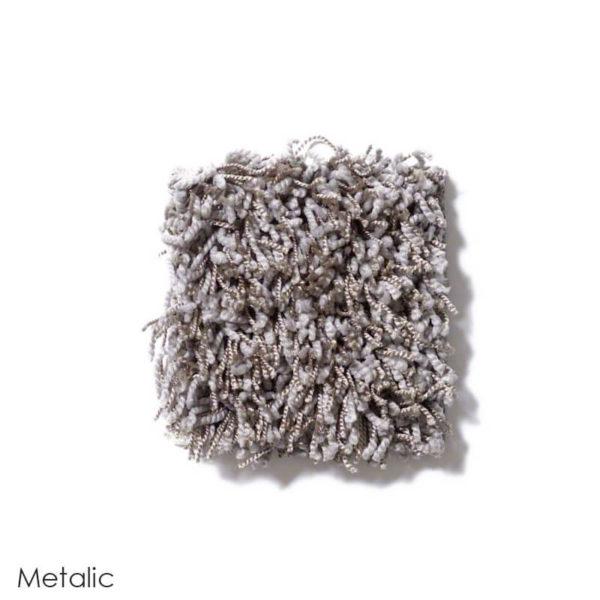Uptown Girl Indoor Shag Carpet Area Rug Collection Metallic