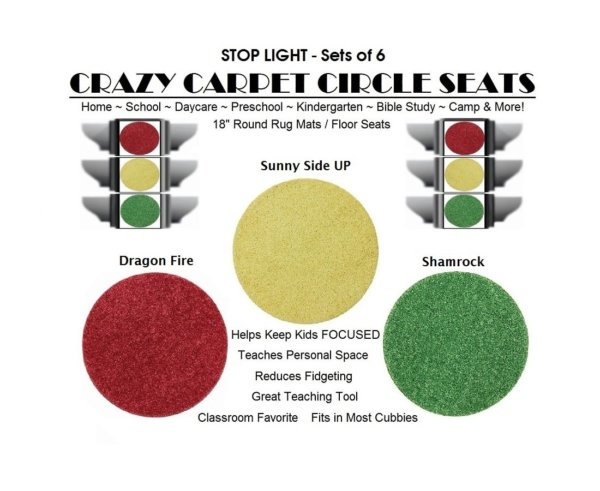 Children's Crazy Carpet Circle Seats STOP LIGHT Sets of 6