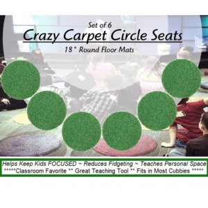 Children's Crazy Carpet Circle Seats Shamrock Green Sets of 6