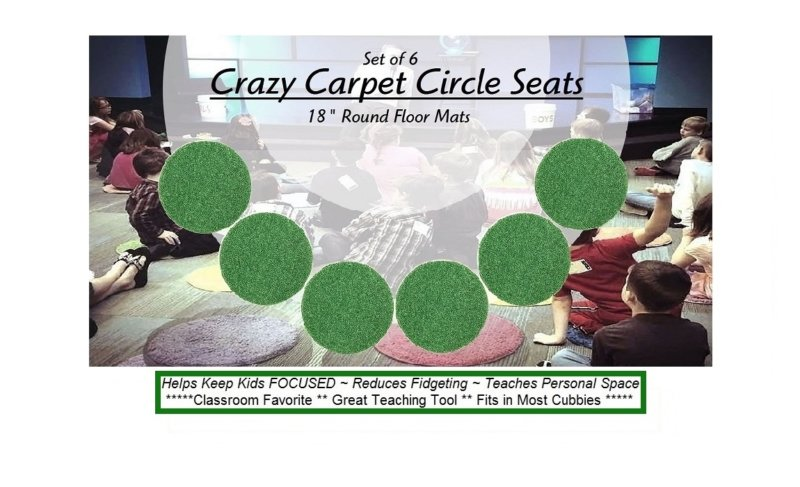 Children's Crazy Carpet Circle Seats Shamrock Green Sets of 6