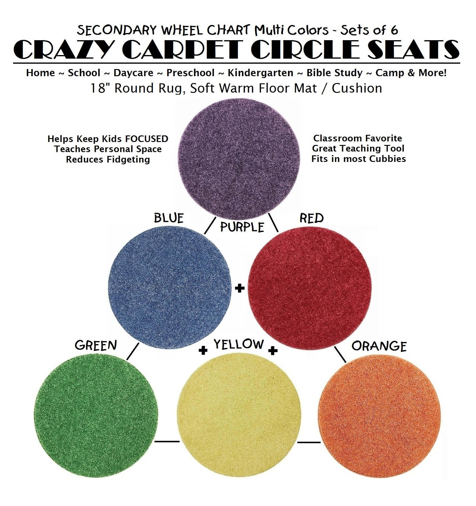 A POPSICLE Set of 5 CHILDRENS CRAZY CARPET CIRCLE SEATS 18 Round Rug Mat