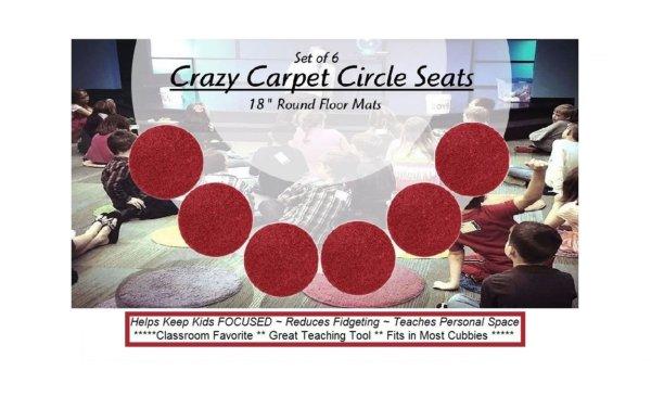 Children's Crazy Carpet Circle Seats Engine Red Set 6