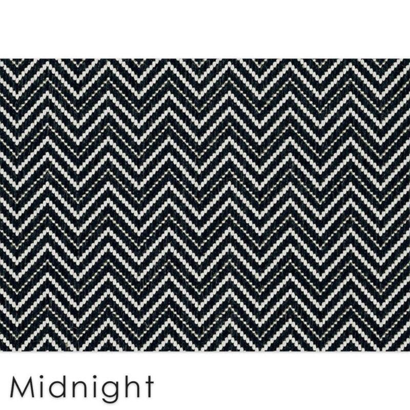 Kalani Chevron Custom Cut Indoor Outdoor Area Rug Collection | Indoor Outdoor Carpet Patio Area Rugs Customize Your Size & Shape Midnight