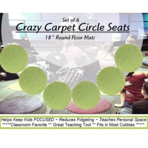 Children's Crazy Carpet Circle Seats Gremlin Green Set 6