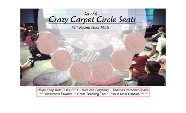 Children's Crazy Carpet Circle Seats Fairy Dust Pink Sets of 6
