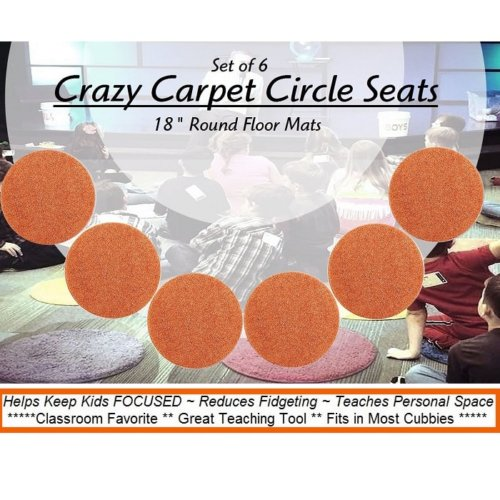 Children's Crazy Carpet Circle Seats Twisted Orange Set 6