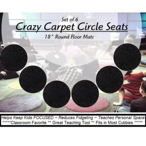 Children's Crazy Carpet Circle Seats Tuxedo Black Set 6