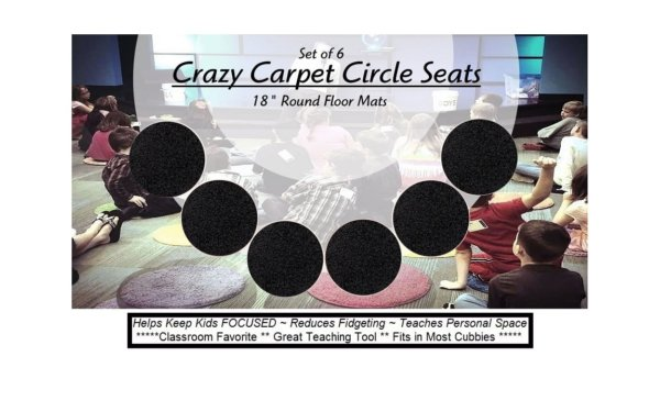 Children's Crazy Carpet Circle Seats Tuxedo Black Set 6