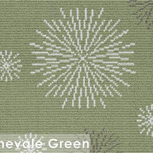 Carnevale Green Masque Custom Cut Indoor Outdoor Area Rug Collection