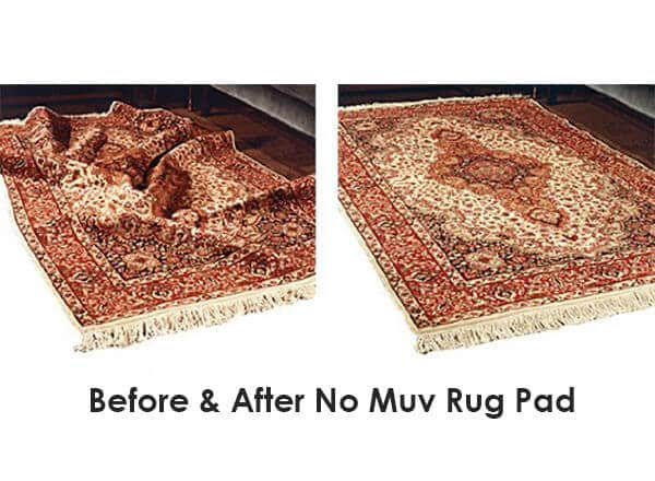 No Muv Wrinkle Free Area Rug Pad Before