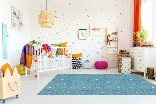 Joy Polka Dot Pattern Luxury Area Rug Festival Collection childrens rugs, kids carpet, childrens area rugs