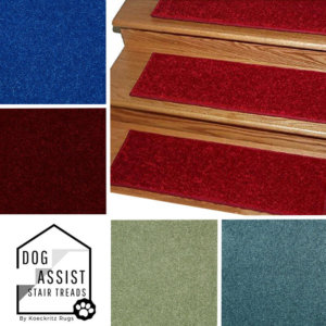 "Jewel Tones DOG ASSIST Carpet Stair Treads | 8""x24"" and 9""x27"" (12 -18 Treads per Set)"