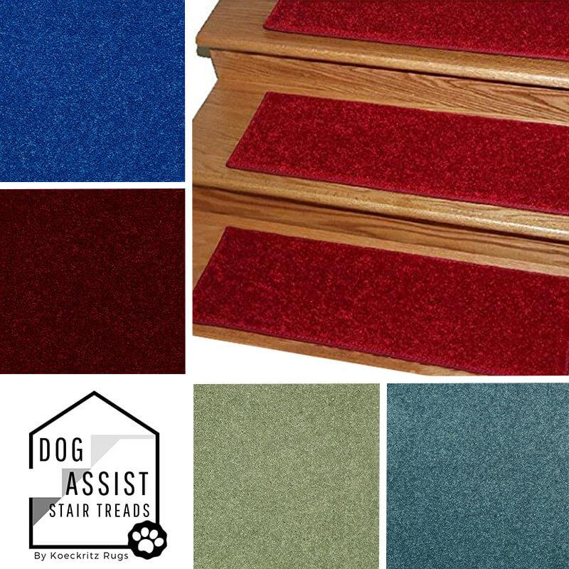 "Jewel Tones DOG ASSIST Carpet Stair Treads | 8""x24"" and 9""x27"" (12 -18 Treads per Set)"
