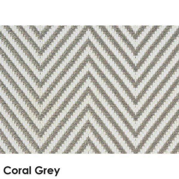 Hatteras Island Custom Cut Indoor Outdoor Woven Chevron Collection Coral Grey