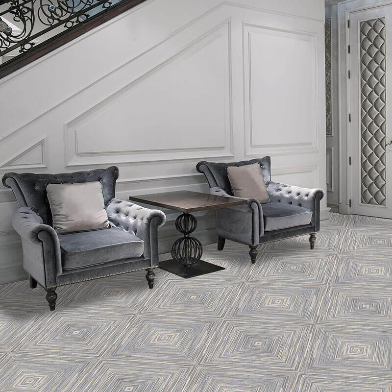 Exemplify Diamond Pattern Area Rug Upscale Luxury Collection - Room