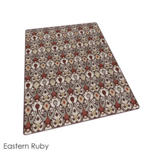 Relic Pattern Indoor Area Rug Collection Eastern Ruby