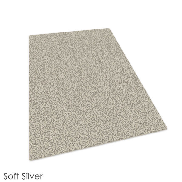 Milliken Maison Scroll Pattern Indoor Area Rug Collection Soft Silver