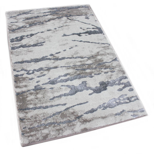 Rippled Water Area Rug Abstract Tides Collection Ecru rug